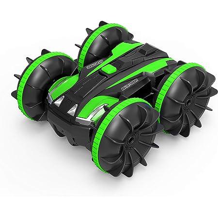 Rotazione a 360 Gradi Auto da Corsa ad Alta velocit/à a 4 Ruote motrici a 2,4 GHz LUOWAN Auto telecomandata anfibia Adatta per luso su Terra e Acqua(Blu)