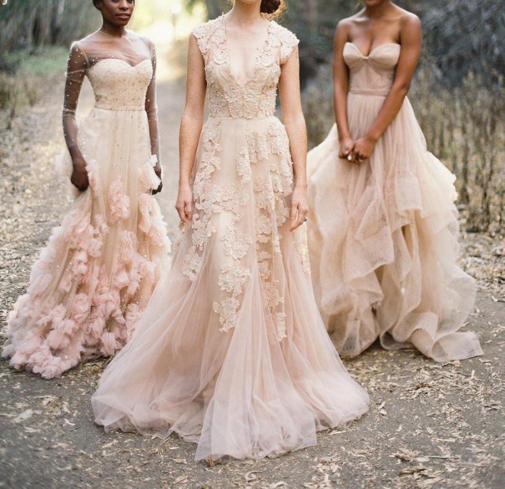 Ruolai Women's Vintage Wedding Dress Cap Sleeves Lace Bridal Gown Beach  Boho Wedding Gown