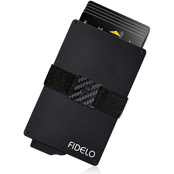 FIDELO Minimalist Wallet for Men - Slim Credit Card Holder RFID Mens Wallets