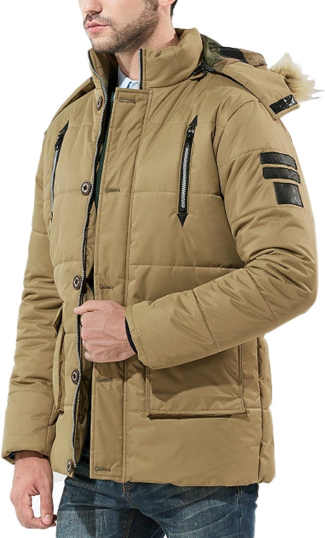 Mr.Stream Men's Winter Mid Length Coat Hooded Faux Fur Windbreaker Warm Tops Jacket Parka