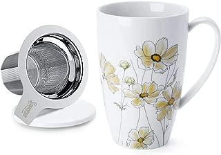 Sweese 201.217 Porcelain Tea Mug with Infuser and Lid, 15 OZ, Calliopsis
