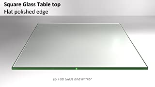 Fab Glass and Mirror 48SQR6THFLTE Square Glass Top Flat Polished Tempered Eased Corners Table, 48