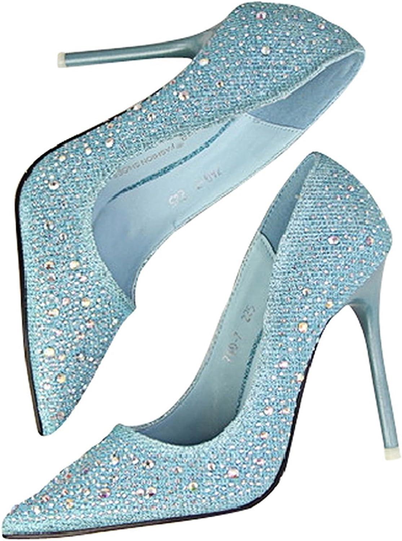 Garyline Women's Rhinestone Pointy Stiletto High Heels Pumps shoes