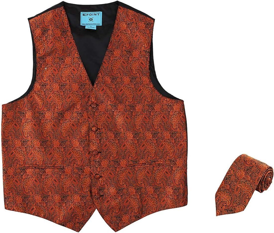 Epoint Men's Fashion Paisley Microfiber Dress Tuxedo Vest Neck Tie Set