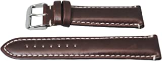 Hadley Roma MS885 20mm Brown Oil Tan Leather Contrast Stitched Watch Band