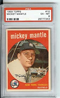 1959 Topps #10 Mickey Mantle PSA EX-MT 6#26777343 YANKEES