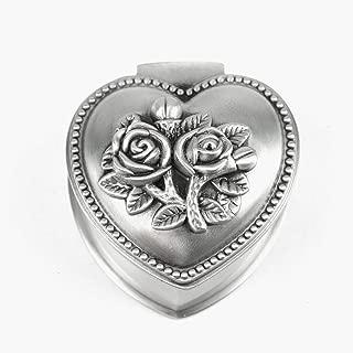 Pomeat Antique Silver Heart Shape Rose Trinket Jewelry Box Engraving Hinged Trinket Storage Box Organizer