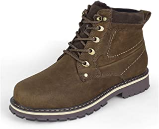 L-YIN Hiking Boots for Men Round Toe Lace Up Eyelock Pull Tap Stitiching Mid Top Low Heel Two Tone Synthetic Leather Rubbe...