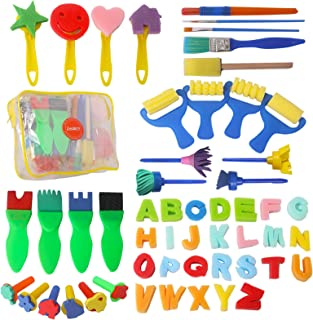 (Brushes Only) - 48pcs Kids Art & Craft Early Learning Painting Sponges Stamper Mini Paint Brushes Kit with 26 English Alp...