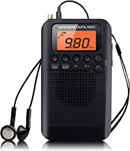 Amicc Pocket 2-Band Digital Tuning AM/FM Stereo Radio Mini Receiver w/Earphone (Black)