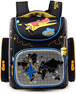 Folding School Backpack Waterproof Orthopedic Bookbag for Boys and Girls (A small plane)