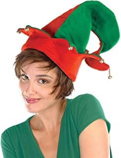 Beistle 20736 Felt Elf Hat with Bells, One Size Fits Most, (Red/Green) One Size 20736