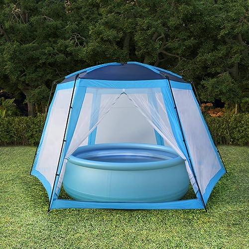Tidyard Tente de Piscine   Tente de Fête en Tissu 660x580x250 cm Bleu