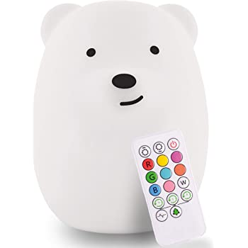 LumiPets LED Bear Battery-Operated/USB-Powered Silicone Night Light for Kids with 9 Tap-to-Activate Colors