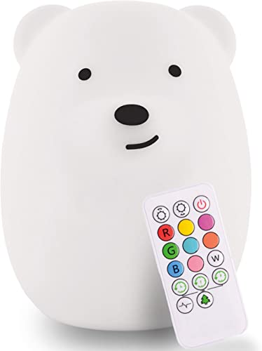 LumiPets Baby Night Light Nursery Lamp Bear - USB Rechargeable Wireless + Remote Control with Timer and Brightness Co...