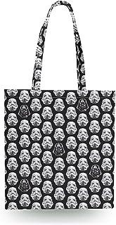 Vader & Storm Trooper Helmets Star Wars Inspired Canvas Tote Bag - Zipper Canvas Tote Bag