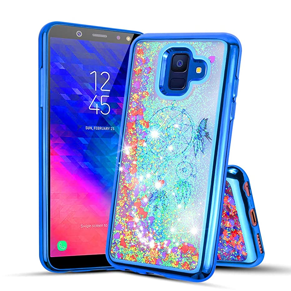 Compatible with Samsung Galaxy A6 2018, Glitter Liquid Quicksand Flowing Sparkle Case for Samsung Galaxy A6 2018 (Blue)