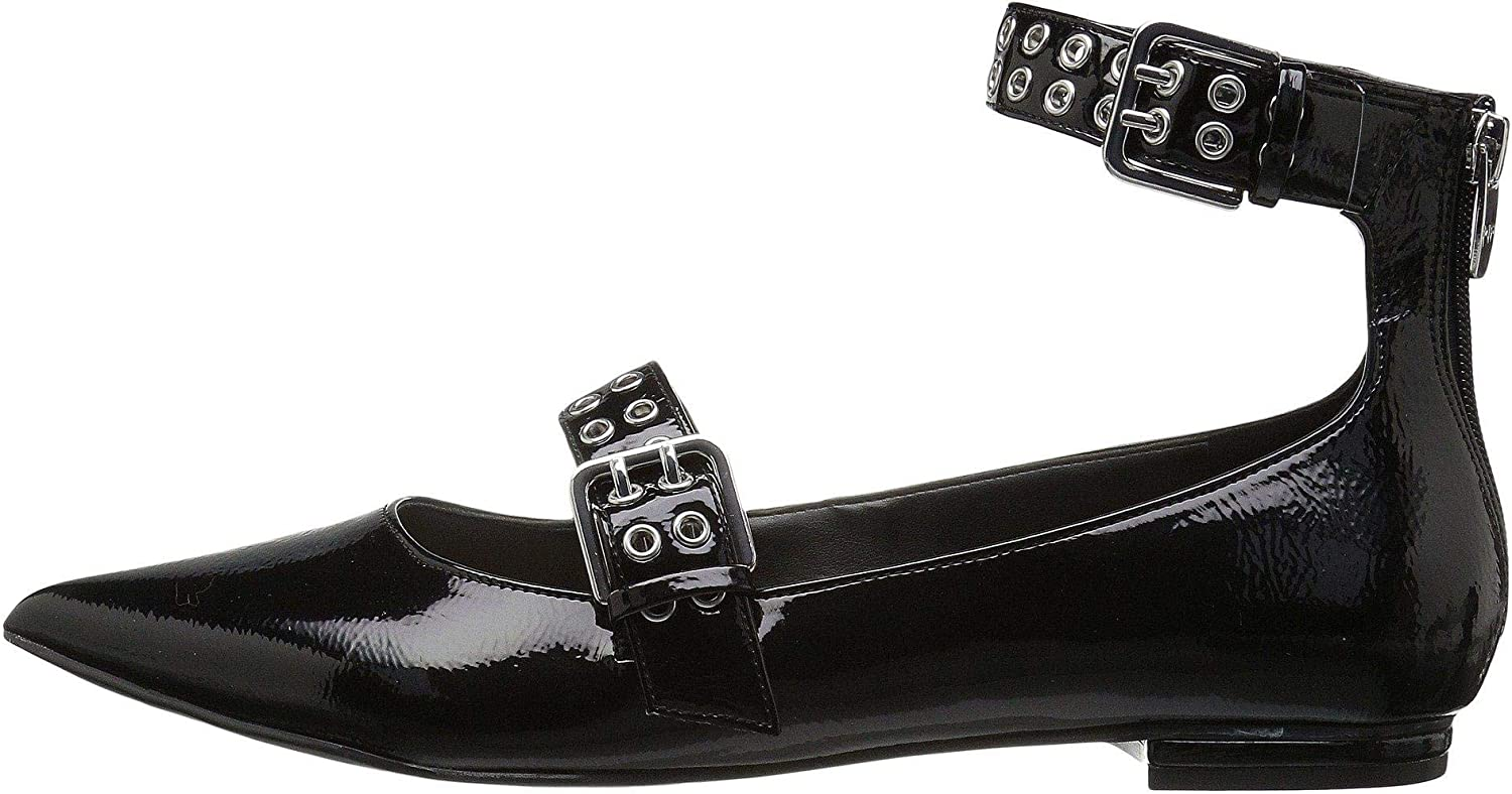 Marc Fisher Womens Alen4 Closed Toe Ankle Strap Slide Flats