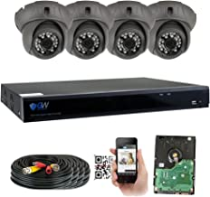 GW 8 Channel HD 5.0MP (2592TVL) H.265 Outdoor/Indoor Security Camera System with 4 x 5MP HD 1920P CCTV Camera, Pre-Installed 2TB Hard Drive, High Resolution Long Transmit Range (Dome Cameras)