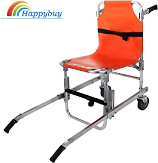 Happybuy Stair Chair EMS 350 lbs Evacuation Stair Chair 2 Wheels Stair Climbing Chair 3 Adjustable Release Buckles Chair Lifts for Stairs Aluminum Light Weight Ambulance Medical Lift