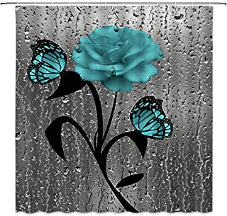 Teal Rose Shower Curtain Flower Butterfly Grey 3D Realistic Water Beads Creative Art Bathroom Curtains Decor Polyester Fabric Quick Drying 70X70 Inches Include Hooks Teal Grey