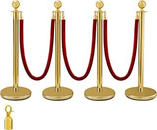 BestEquip 38 Inch Gold Stanchion Posts Queue 4Pcs Red Velvet Rope Crowd Control Barriers Queue Line Rope Barriers for Patrty Supplies