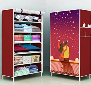 COROID Digital Printed Multipurpose 6 Shelve Baby Wardrobe, Foldable, Collapsible Fabric Wardrobe Organizer for Clothes (I...