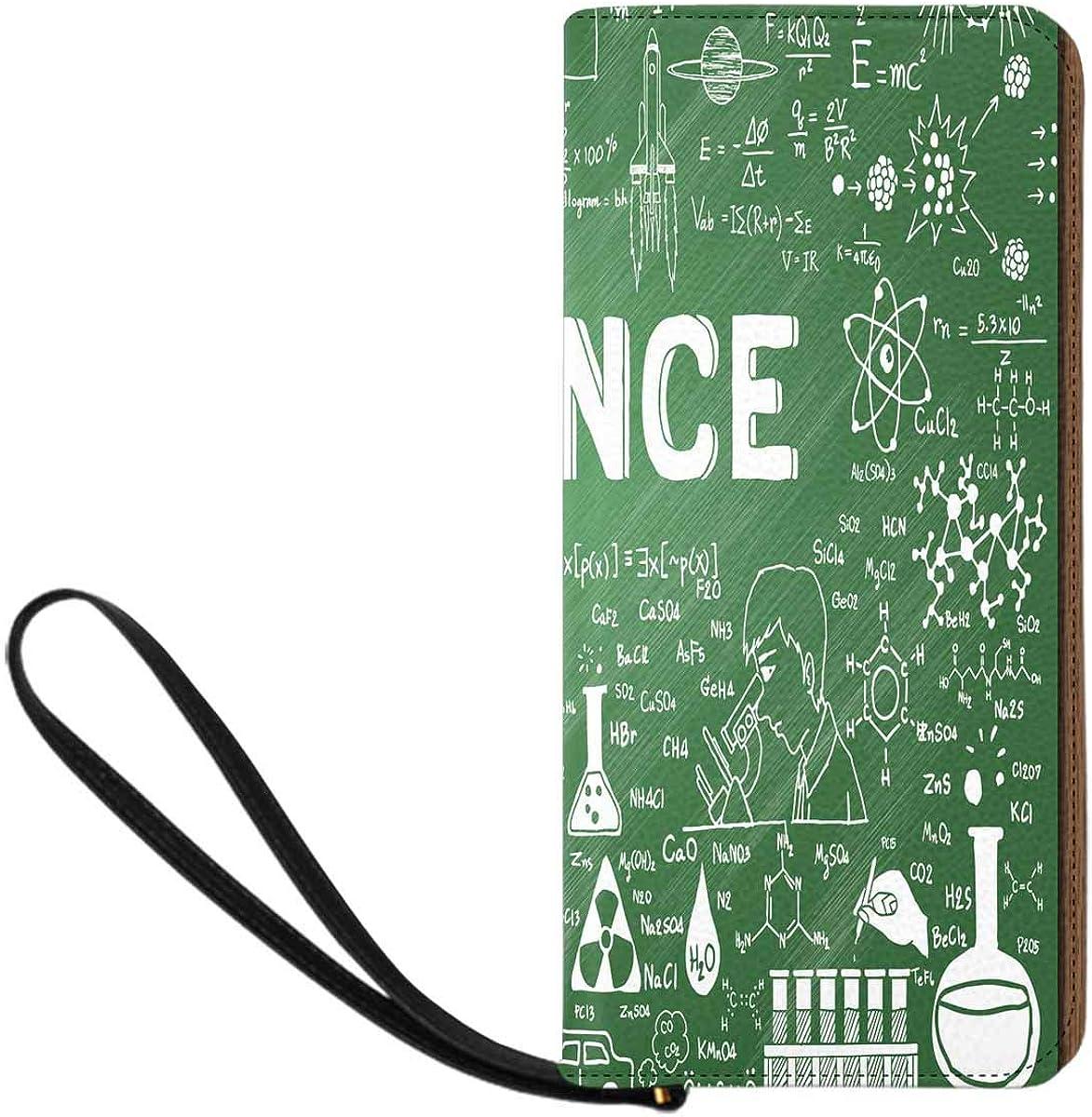 INTERESTPRINT Hand Drawn Science on Chalkboard Purse Clutch Bag Wristlet Wallet with Strap