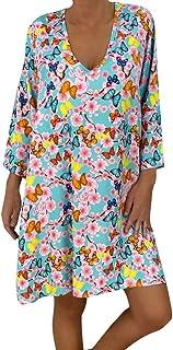 comprar comparacion VEMOW Vestido Mujer Faldas Ropa de Verano con Mangas Tres Cuartos y Estampado Suelto para Mujer