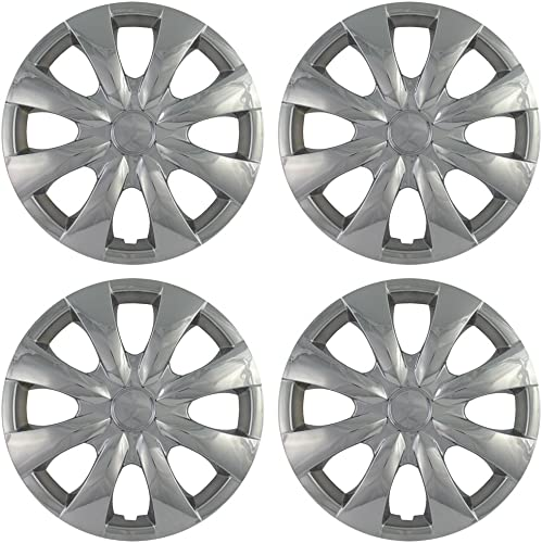 new arrival 15 inch Hubcaps outlet online sale Best for 2003-2014 Toyota Corolla - (Set outlet online sale of 4) Wheel Covers 15in Hub Caps Chrome Rim Cover - Car Accessories for 15 inch Wheels - Snap On Hubcap, Auto Tire Replacement Exterior Cap sale