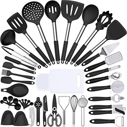 lowest Silicone Cooking Kitchen Utensil Set, Umite Chef 43 high quality PCS Heat Resistant Kitchen Utensils Gadget Set-Stainless online Steel Handle- Kitchen Spatula Tools for Nonstick Cookware, Kitchen Accessories(Black) sale