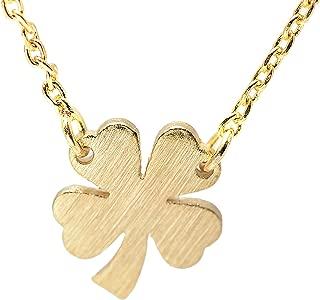 Handcrafted Brushed Metal Irish 4 Leaf Clover Necklace