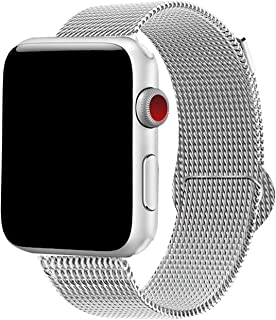 Yaber Stainless Steel Mesh with Adjustable Magnetic Closure Replacement Band Compatible for Apple Watch Series 5/4/3/2/1 (Silver, 38MM/40MM)