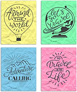 Adventure Travel Painting/Posters for Room Decoration, Set of 4 Multicolor Art Prints/Posters for Living Room by Painting ...