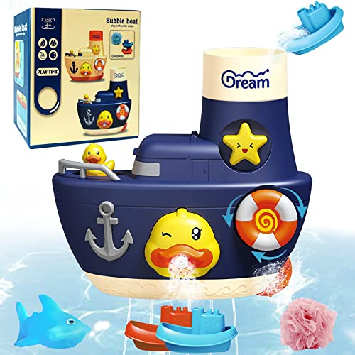 popular Bath Toys for Toddlers 1-3,Baby Bathtub Toys for Kids 3-5 Fun Bubble Boat discount Ducky Shark Bathroom Toys Squirt Waterfall Fill Spin and Flow Shower Wall Toys Set Age 1-6,Gift for outlet sale Boys and Girl (Blue) online