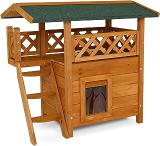 dibea Maison pour chats lodge chats en bois cabane avec terrasse 77x53x72 cm couleurs différentes