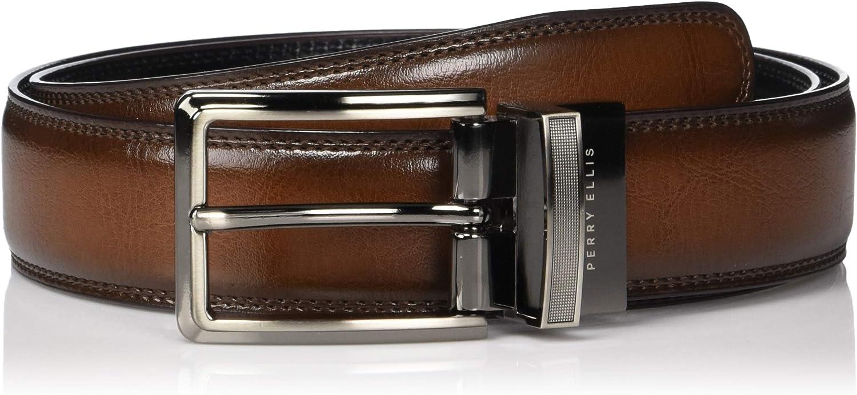 Perry Ellis Men's Standard Portfolio Double Stitched Reversible Belt