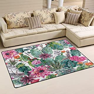 """Qrriy Watercolor Green Cactus And Pink Flowers Doormat for Front Door Outside Shoes Scraper Floor for Porch Garage High Traffic Non Slip Entrance Rug 23.6""""(L) x 15.7""""(W)&ドアマット,ヒップスタークールドアカーペット歓迎,靴スクレーパー屋内マットギフト"""