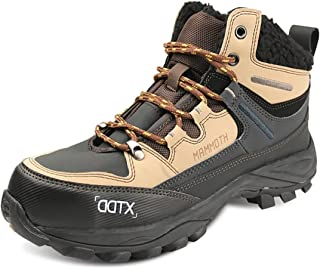 DDTX Winter Mens Warm Boots Steel Toe Work Boots Slip Resistant Fur Lining Safety Boots Black
