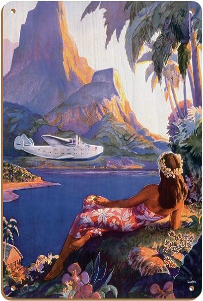 Fly To South Seas Isles Via Pan American Pan American Airways Paa Hawaii Vintage Airline Travel Poster By Paul George Lawler C 1940s 8in X 12in Vintage Wood Art Sign Posters Prints Amazon Com
