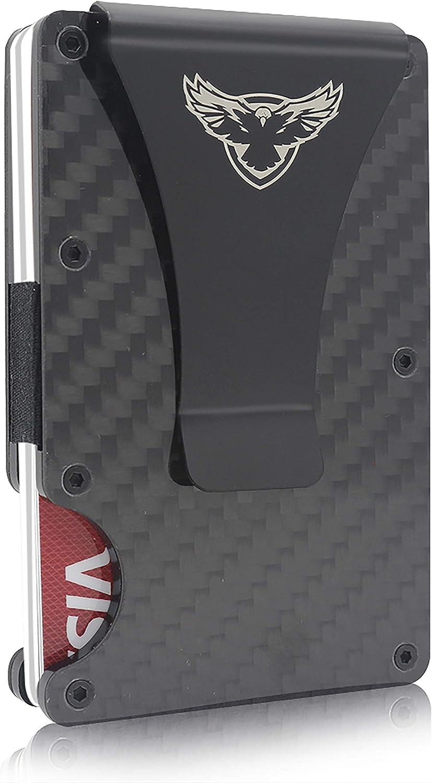R R.EAGLE Carbon Fiber Wallet with Money Clip - RFID Blocking Front Pocket Wallet - Slim Credit Card Holder - Premium Minimalist Wallets for Men