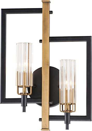 """lowest Maxim 16115CLBKAB Flambeau online ADA Compliant Unique Metal Frame with Crackle Glass Cylinder Wall Sconce, 2-Light 120 Total Watts, 18""""H x 13""""W, popular Black/Antique Brass online"""