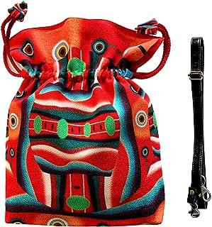 [アルテセイコ] 2WAY巾着ショルダーバッグ Pポーチ付【 赤い顔 】オリジナルプリント&ハンドメイド少数販売品