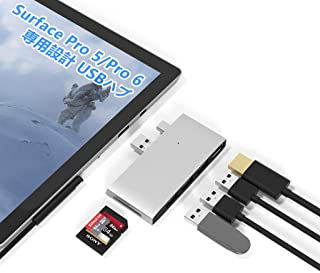Rytaki Microsoft Surface Pro 5 / Pro 6専用 USB 3.0 ハブ USB 3.0+USB 2.0ポート 4K@30Hz HDMIポート SD / TF(Micro SD) カードリーダー 同時に使用可 高速...