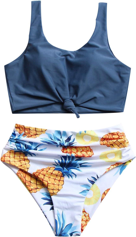 MakeMeChic Women's Bathing Suit Knot Front Top & Pineapple Print High Waist Swimsuit