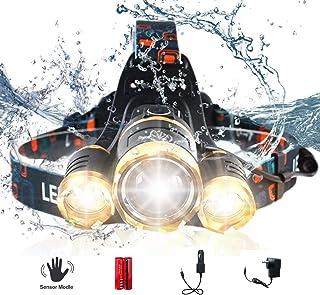 AUSELECT Waterproof 3LED Headlamp 5 Modes High Lumen Flashlight T6 Headlight Zoomable Sensor Control Helmet Light for Hunt...