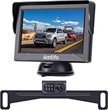 AMTIFO Backup Camera Kit with 2 Video Input,HD 720P Rear View Hitch Camera for Pickups,Trucks,Cars Reverse/Driving Use,Guide Lines Turn On/Off,IP69 Waterproof