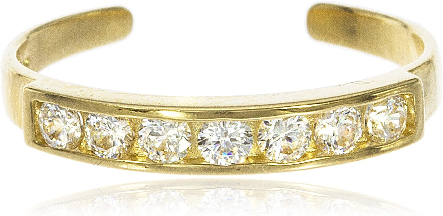 10k Bar with Cubic Zirconia Stones Toe Ring - Yellow Gold or White Gold