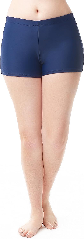 Love My Curves Women's Plus Size Loose Banded Boyshort Swim Short Bottoms