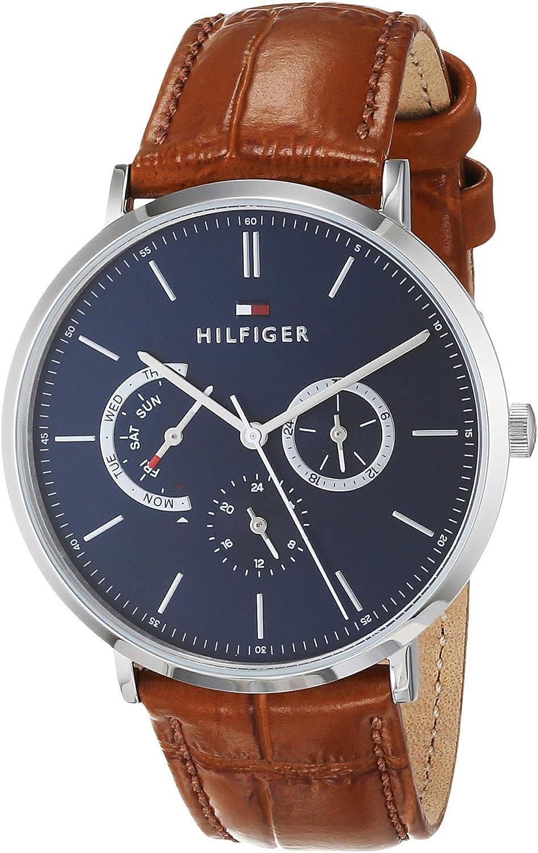 Tommy Hilfiger Reloj Multiesfera para Hombre de Cuarzo con Correa en Cuero 1710375